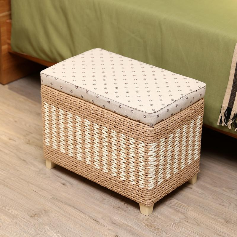 Japanese Style Storage Chair Weaving Storage Box Footstool Storage Stool Garden la casa ju deng Doorway Footstool Storage Box Stool