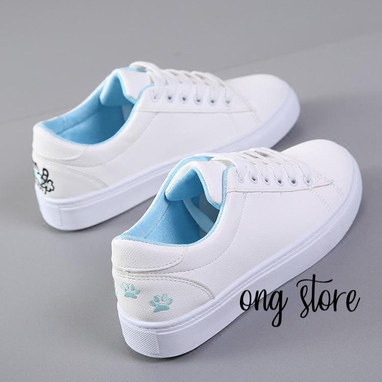 Bán Giay Thể Thao Nữ Giay Sneaker Nữ Theu Meo Xinh Xắn Meo Xanh No Brand Rẻ