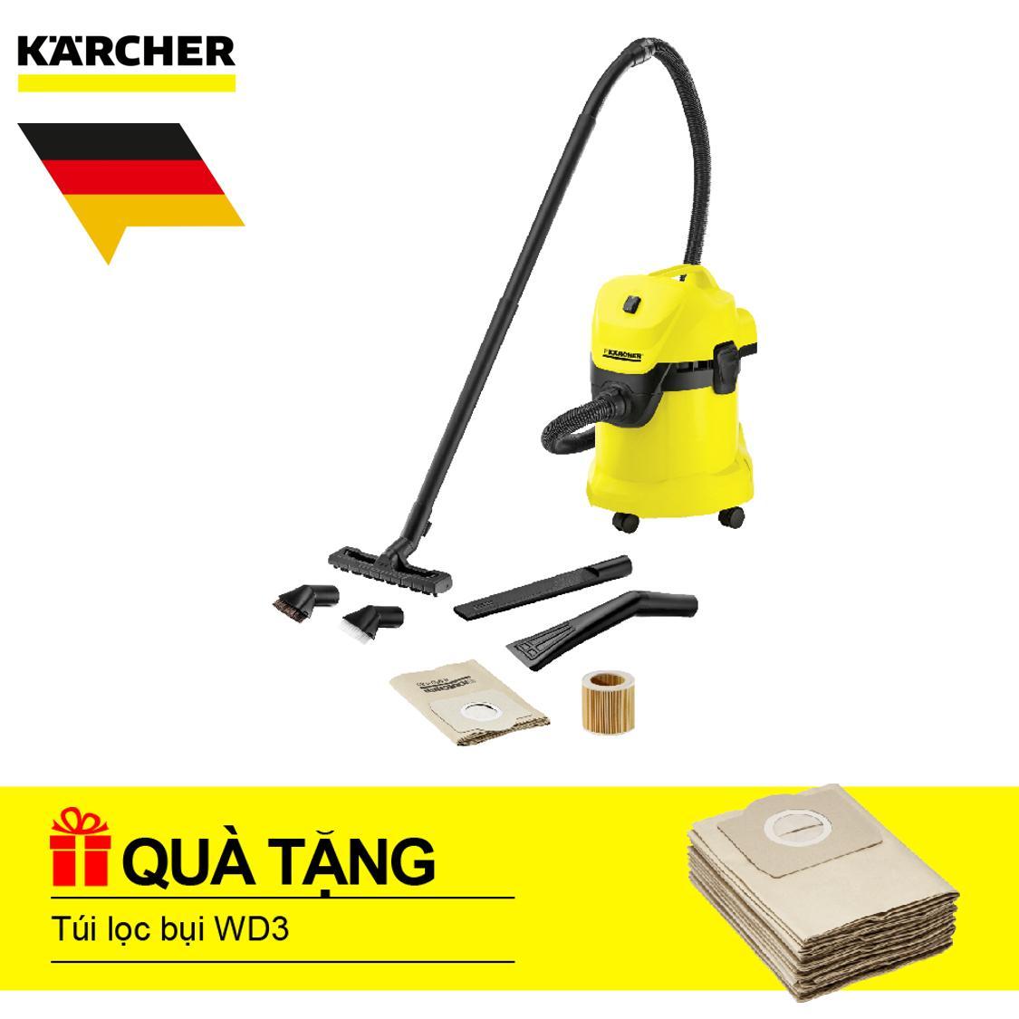 Máy hút bụi khô & ướt Karcher WD 3 Car + Túi lọc bụi WD3 (Bộ 5 cái)