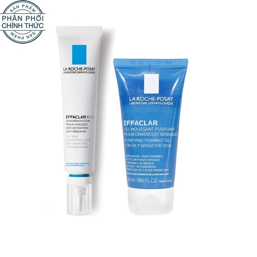 Hình ảnh Bộ đôi Kem dưỡng giúp giảm mụn đầu đen, cải thiện bề mặt da La Roche-Posay Effaclar K+ và Gel rửa mặt dành cho da dầu mụn Effaclar gel 50ml