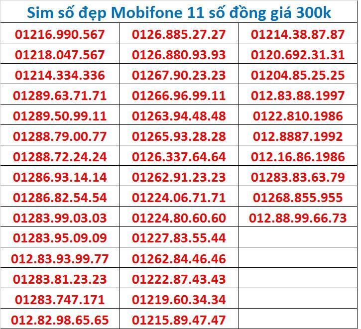 Giá Bán Sim Số Đẹp Mobifone 11 Số Đồng Gia 300K Mobifone Tốt Nhất