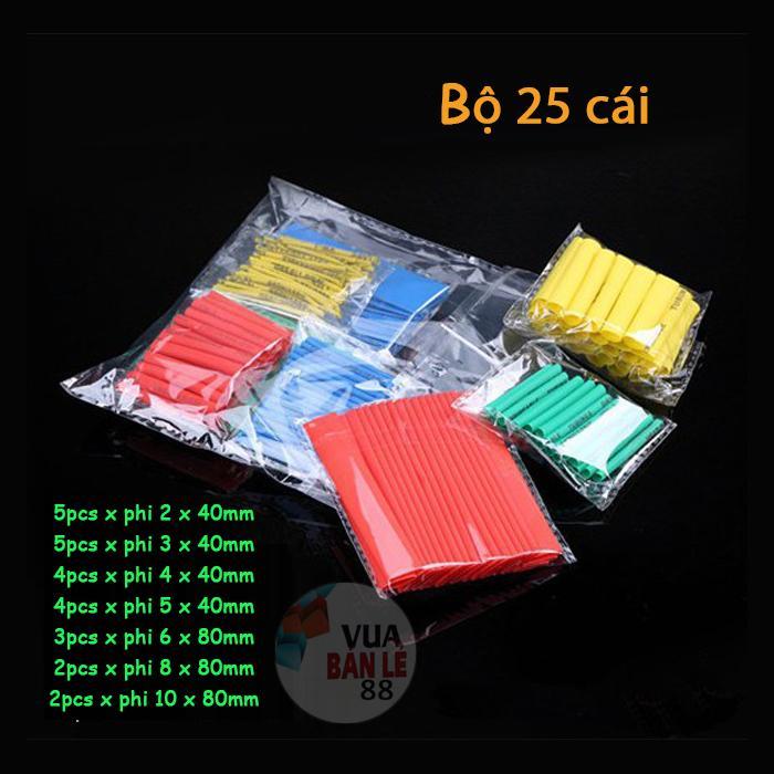 Bộ 25 ống gen co nhiệt (nhiều màu) đủ size
