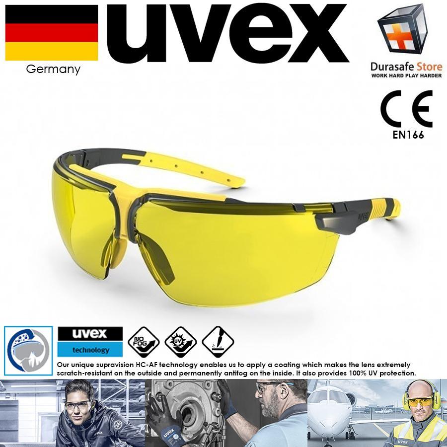 Kính Uvex 9190220 I-3 Safety Glasses Sand Frame Amber Supravision HC-AF Len