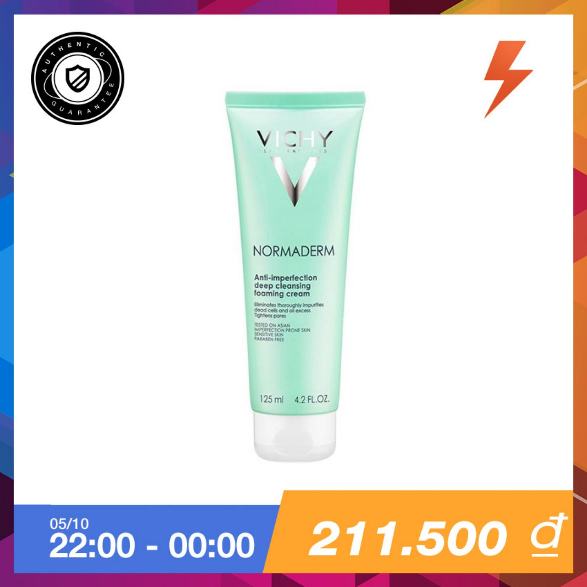 Sữa Rửa Mặt Ngăn Ngừa Mụn Vichy Normaderm Anti Imperfection Deep Cleansing Foaming Cream 125Ml Rẻ