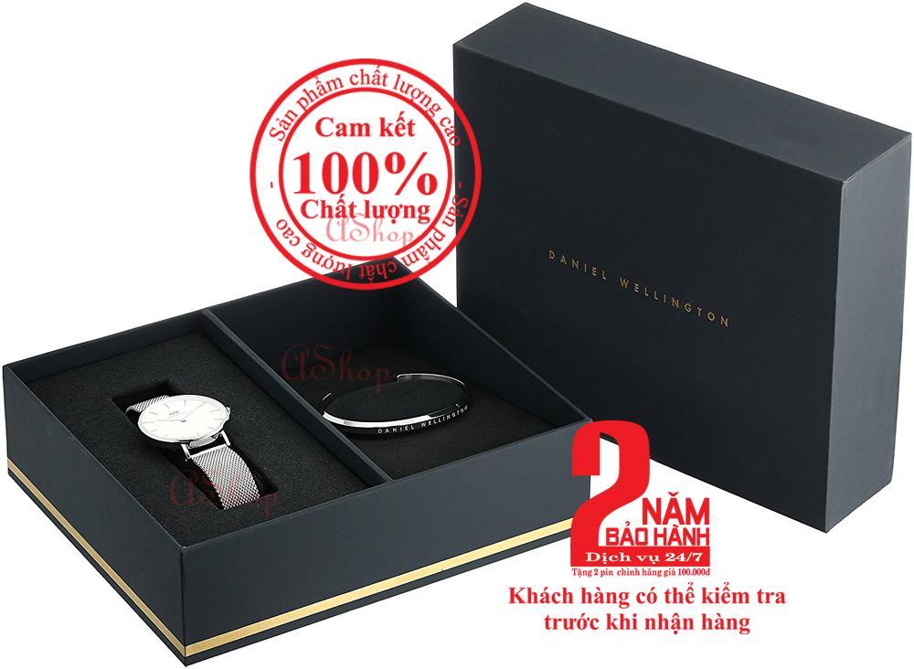 Hộp quà đồng hồ nữ DW Classic Petite Sterling 32mm (Mặt trắng) + Vòng tay DW Cuff - màu bạc (Silver)- DW00500004 bán chạy