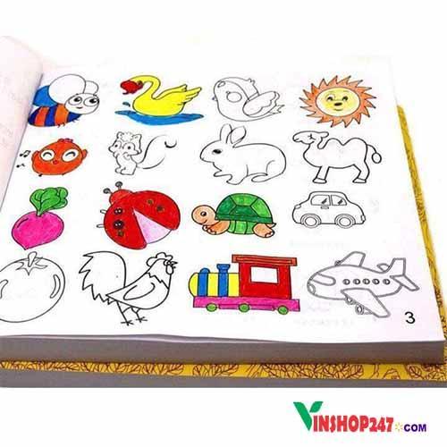 Hình ảnh Bộ sách tô màu cho bé 5000 hình tặng kèm 12 cây bút màu