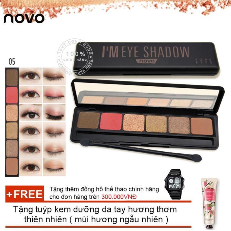 Hộp phấn đánh mắt Novo Im Eye Shadow Cao cấp 5127 + Tặng tuýp kem dưỡng da tay hương thơm  thiên nhiên ( Đơn hàng mỹ phẩm trên 300k tặng thêm 1 đồng hồ thể thao như quảng cáo )