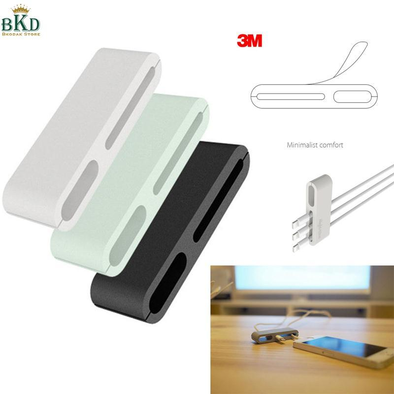 Hình ảnh 3Pcs Self-Adhesive Data Cable Wire Charging Mouse Cord Clip Winder Table