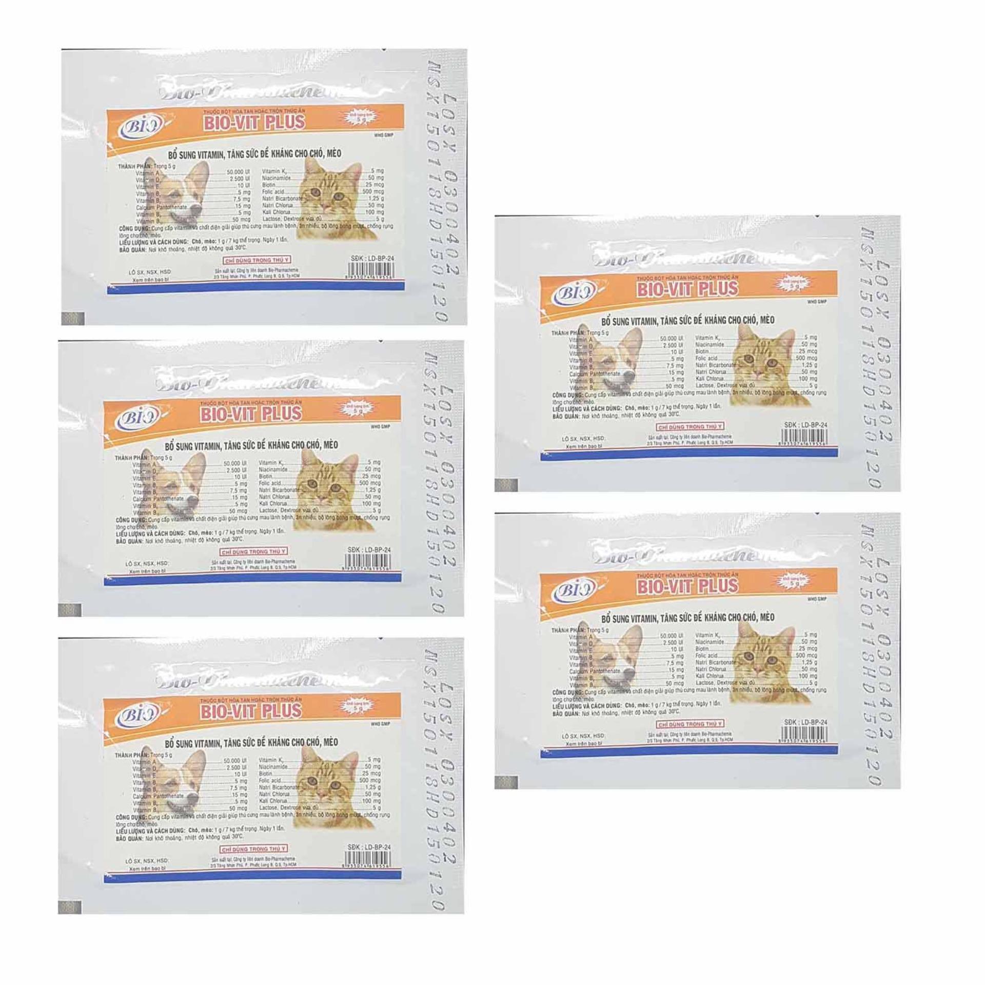 Thuốc bổ mượt lông chó mèo - Thuốc bổ cho chó mèo khỏe đẹp - 5 Gói Bio Vitamin Vit Plus Nhật Bản