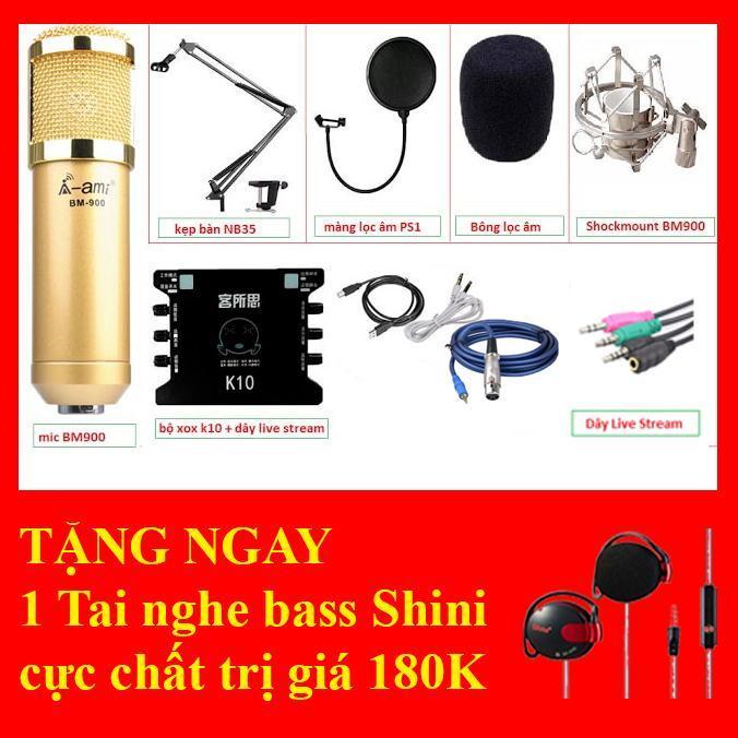 Chiết Khấu Combo Mic Thu Am Bm900 Soundcard Đời Cao V8 Mang Lọc Am Chan Kẹp Ban Day Kết Nối Livestream Có Thương Hiệu