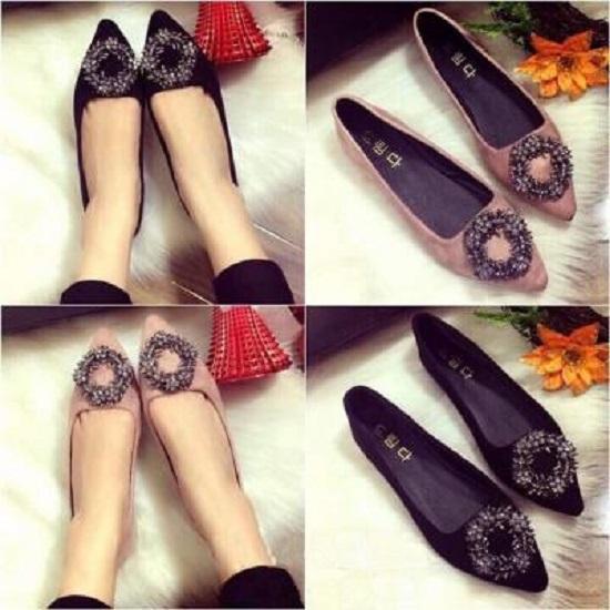 Giày Búp Bê nhung Khóa Vòng hoa - ĐEN