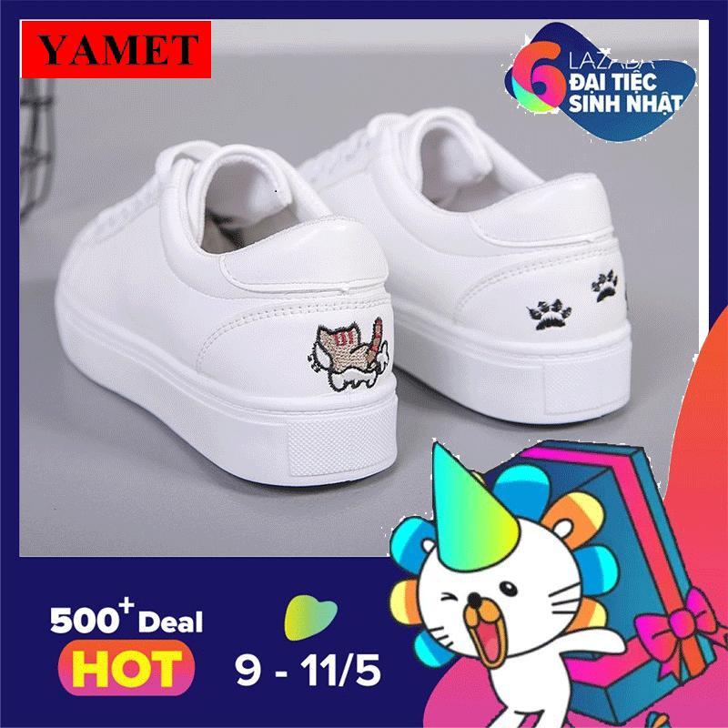 Ôn Tập Giay Sneaker Nữ Theu Meo Dễ Thương Yamet Ya 0933T Mau Trắng