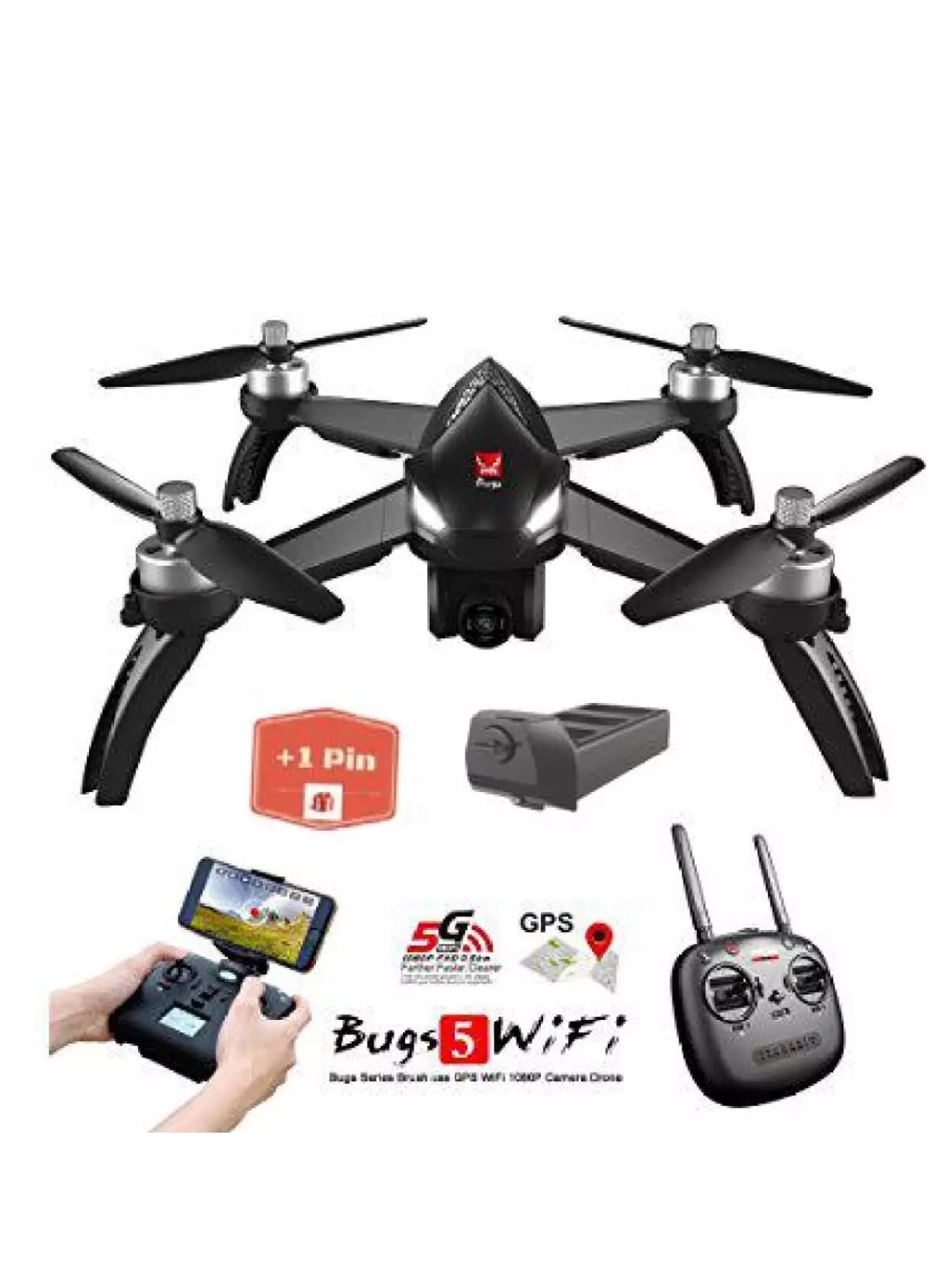 Hình ảnh ( GỒM 2 PIN ) Flycam MJX Bugs 5W - Động cơ không chổi than, GPS, Camera 8.0MP, Sóng 2.4Ghz