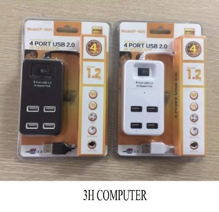 Hình ảnh Bộ chia usb cao cấp có công tắc cho máy tính USB 2.0 Hub 4 Port tốc độ đường truyền 1TB có thể gắn gắn ổ cứng di động