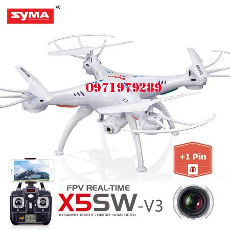 Hình ảnh ( GỒM 2 PIN ) Máy bay điều khiển Syma X5SW WIFI FPV RC Không Đầu Chế Độ Drone với Camera HD, Syma X5SW