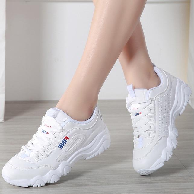 Giá Bán Giay Sneaker Nữ Han Quốc Da Mềm Đế Cao Sanh Điệu 3Fashion 3115 None Trực Tuyến