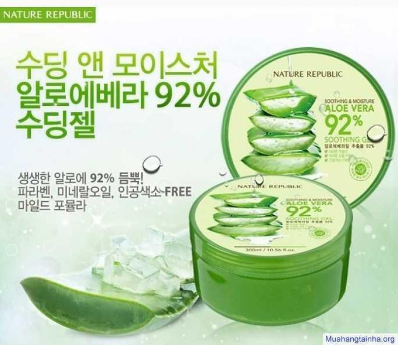 Gel Dưỡng Ẩm Tối Ưu Từ Nha Dam: Aloe Vera 92% nhập khẩu
