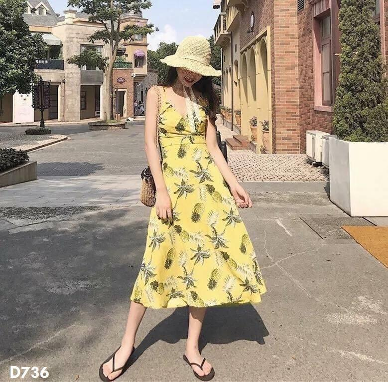 Bán Đầm Maxi In Hinh Trai Thơm Đẹp Để Đi Biển Cho Mua He Rẻ Hồ Chí Minh