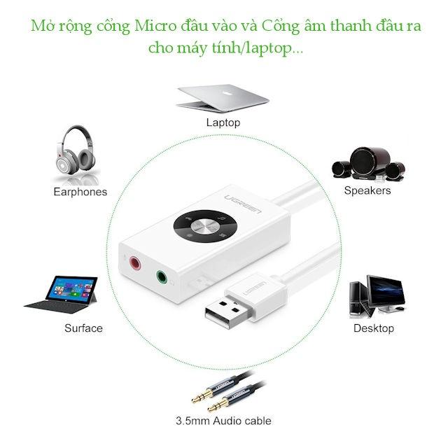 Cáp chuyển USB 2.0 sang 2 cổng 3.5mm (Mic và Tai nghe) UGREEN 3044