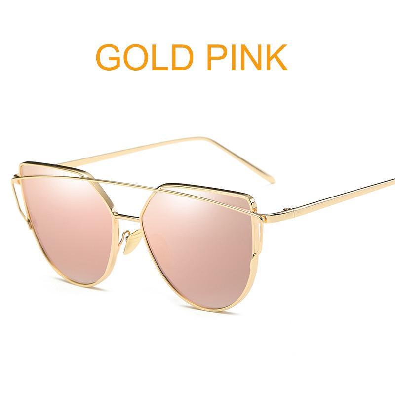 a91c72e38 Ouyifan Cat Eye vintage Brand designer rose gold mirror Sunglasses For  Women Metal Reflective flat lens