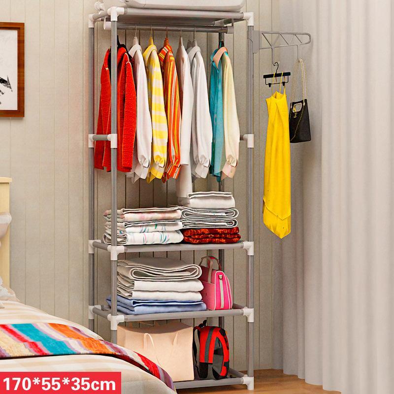 Simple Coat Rack Hanger Creative Clothes Rack Bedroom Racks Storage Mobile Simple Wardrobe Dormitory Small Wardrobe Fabric Cloth Cabinet Storage