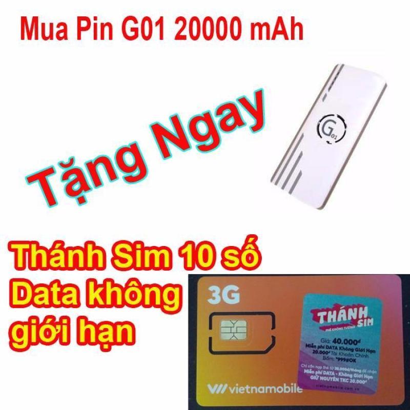 Bảng giá Pin sạc dự phòng G01 Litinum 20000MAH (Trắng) - hổ trợ sạc nhanh + Thánh SIM Vietnamobile 120GB/Tháng 10 số. Phong Vũ