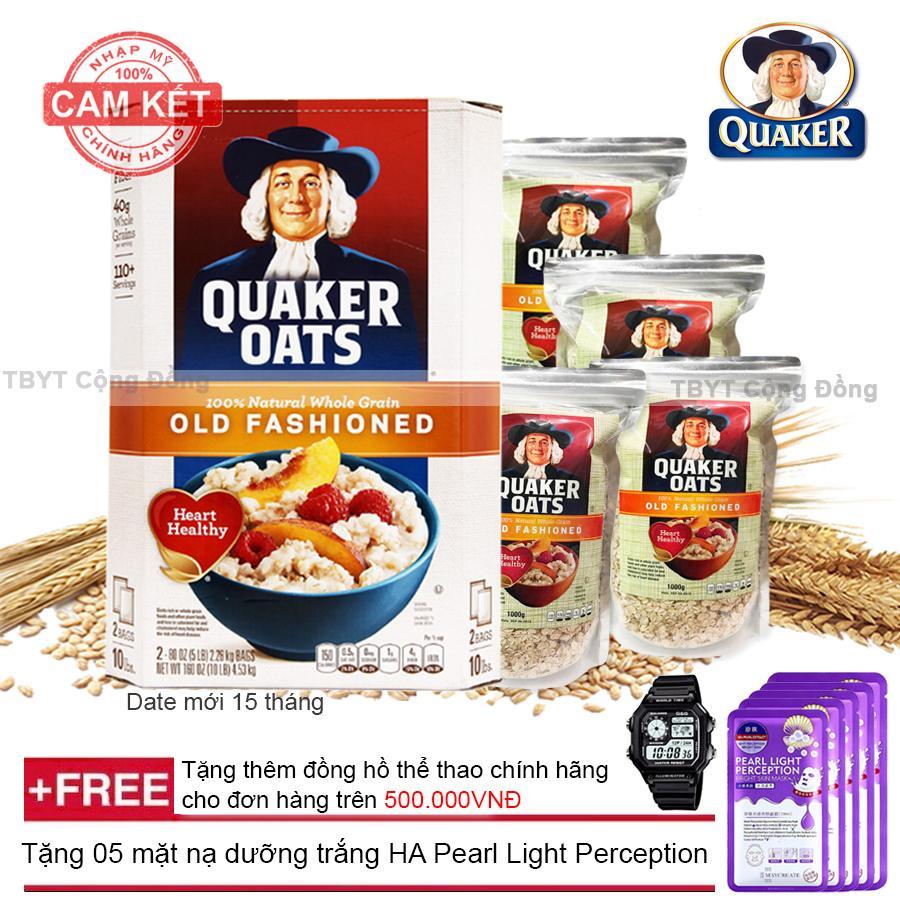 Combo 4 túi Yến mạch nguyên hạt cán dẹt Quaker Oats 1kg + Tặng 05 mặt nạ dưỡng trắng HA Pearl Light Perception