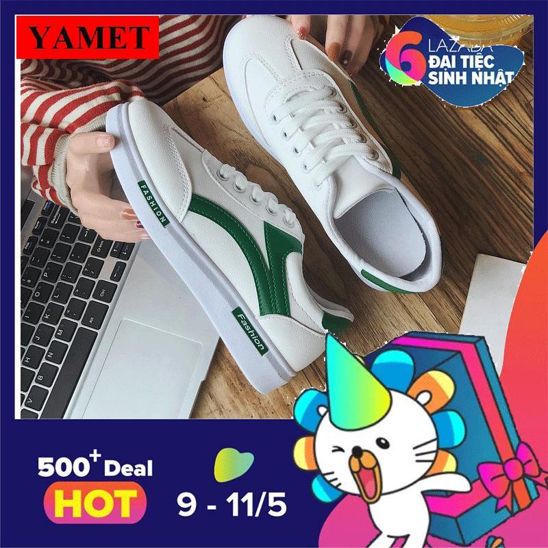 Giay Sneaker Nữ Mẫu Mới Sieu Hot Yamet Sn66389Xt Trắng Phối Xanh Mới Nhất