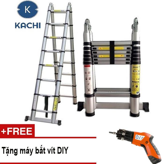 Thang nhôm rút chữ A 3m8 Kachi MK02 + Tặng máy bắt vít DIY