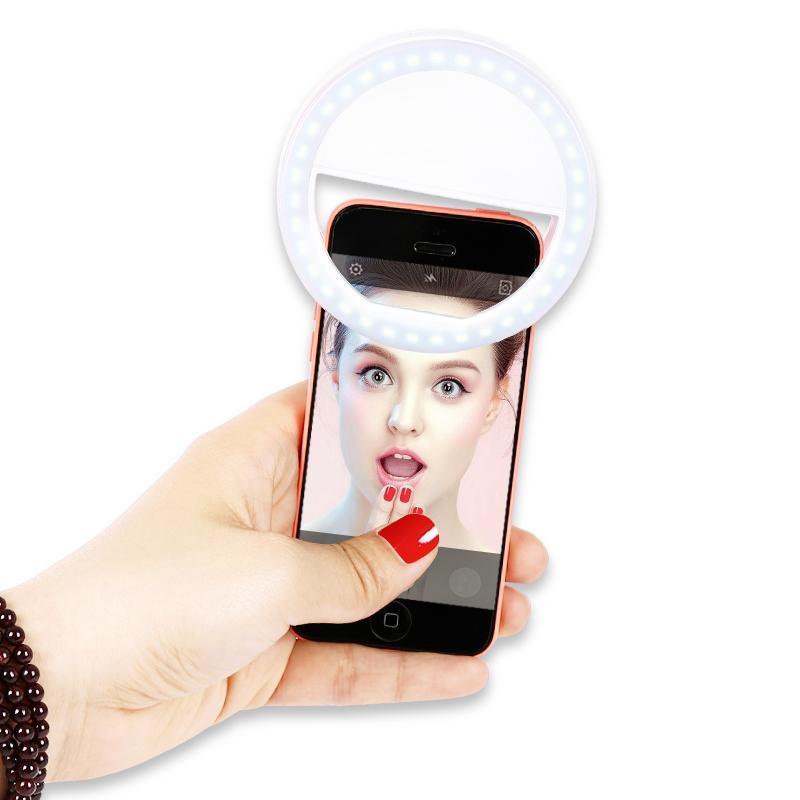 Hình ảnh Đèn LED kẹp điện thoại hỗ trợ chụp hình Selfie - Tặng kèm 2 pin AAA