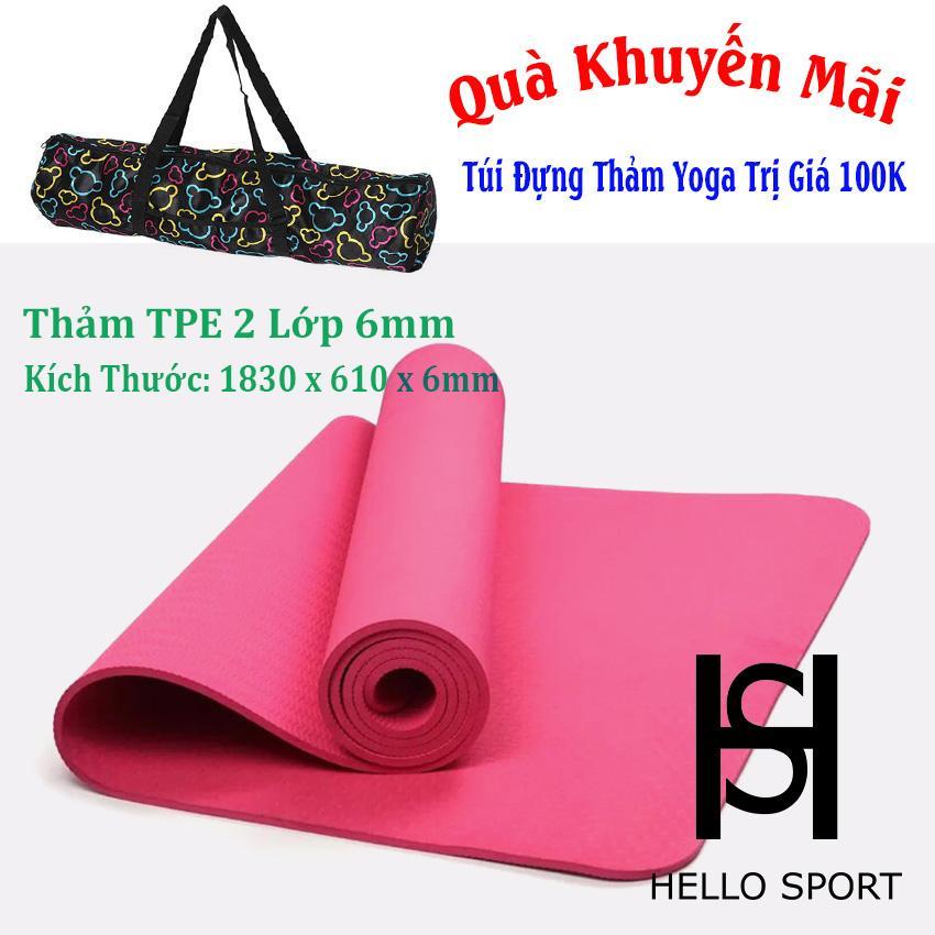 Bán Thảm Tập Tpe Yoga Đuc 1 Lớp 6Mm Cao Cấp Hs Tặng Tui Day Buộc Hello Sport Người Bán Sỉ