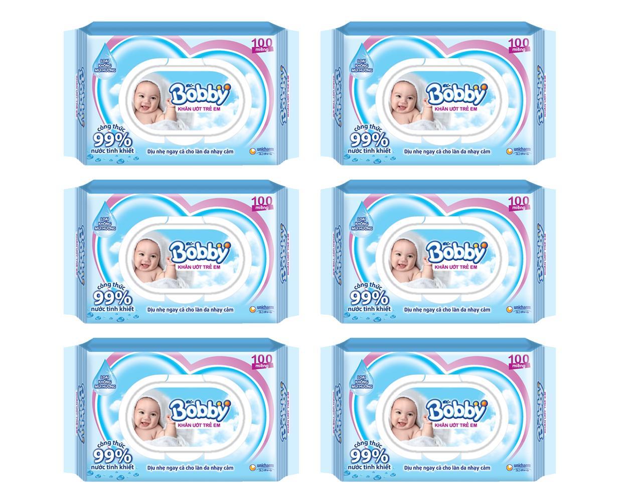 Bộ 6 gói khăn giấy ướt Bobby không mùi 100 miếng