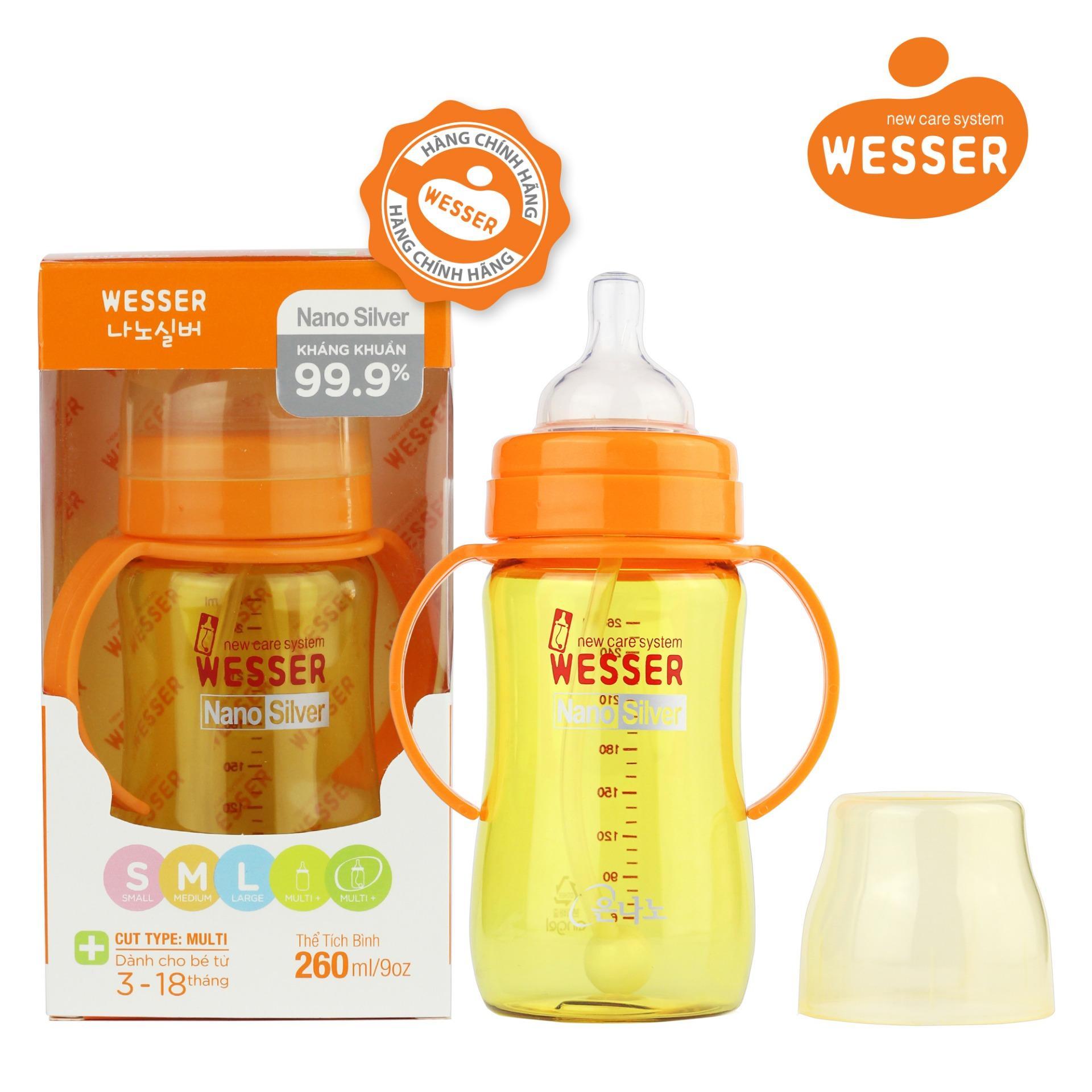 Mã Khuyến Mại Binh Sữa Wesser Nano Silver Cổ Rộng 260Ml Ống Mau Vang Wesser