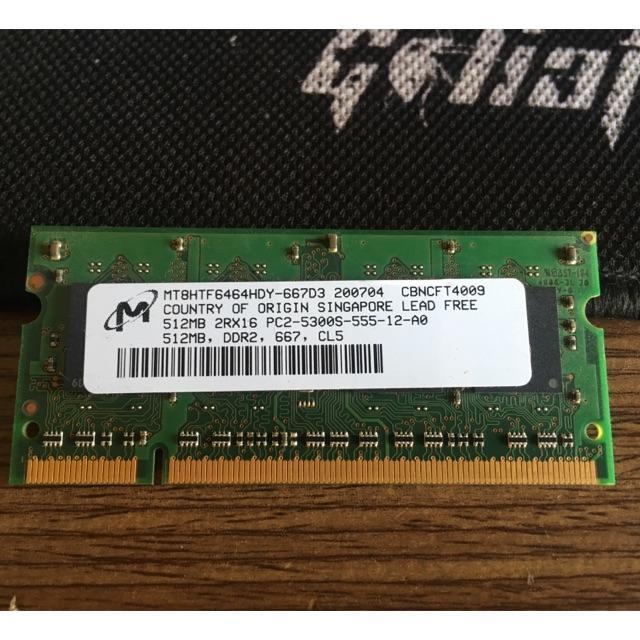 Hình ảnh Ram laptop Ddr2 512mb buss 667 ()