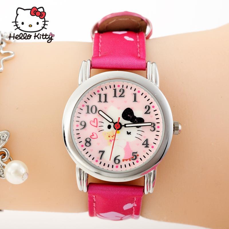 HELLOKITTY jam tangan anak-anak anak perempuan Imut Tahan Air Bercahaya jam tangan QUARTZ Siswa