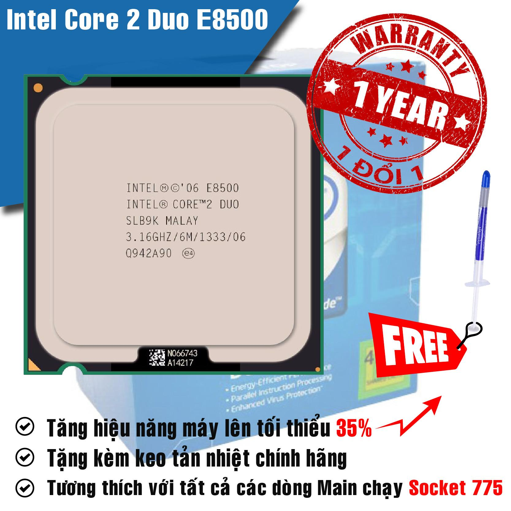 Hình ảnh Bộ vi xử lý Intel Core 2 Duo E8500 3.16GHz(2 lõi, 6Mb Cache) Bus 1333MHz - Tặng Keo Tản Nhiệt.