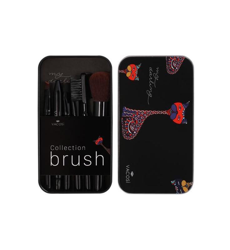 Bộ cọ trang điểm hộp sắt mini 6 cây Vacosi Collection Makeup House (Đen) (Hàng Chính Hãng)