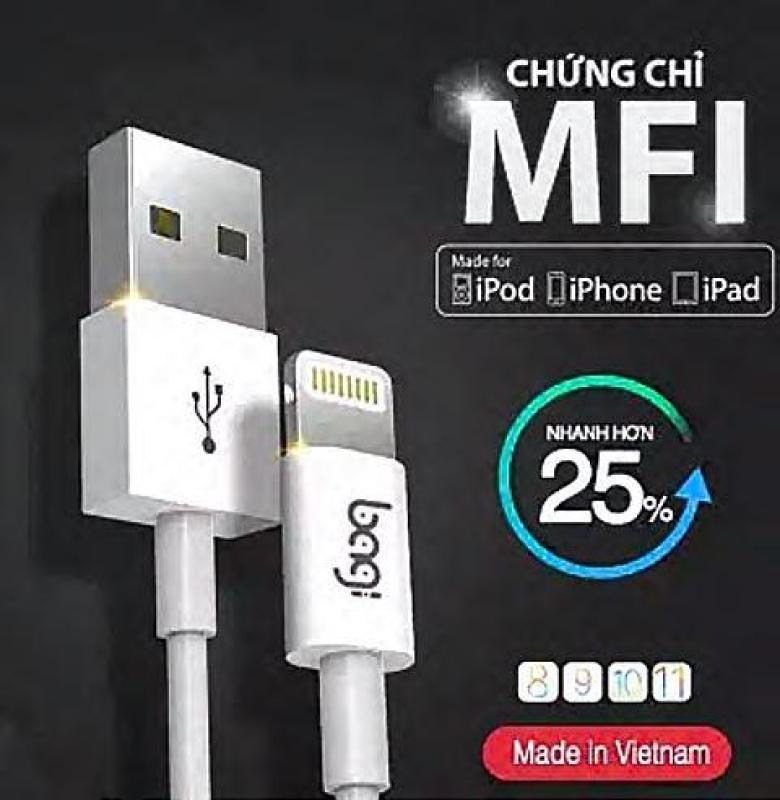 Sạc iphone / ipad/ ipod chuẩn Mfi của Apple thương hiệu Bagi / CB-MFIn (2018)