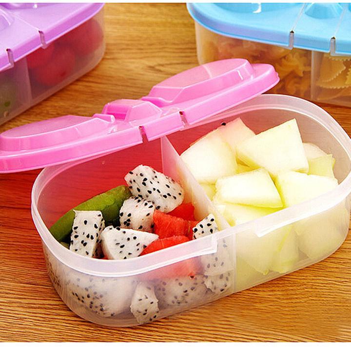 Hình ảnh Combo 4 HỘP BẢO QUẢN THỨC ĂN 2 NGĂN - Hộp tủ lạnh - Hộp đựng thức ăn