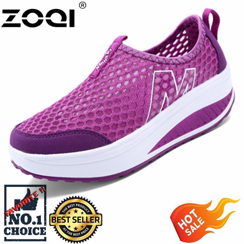 Zoqi Wanita Sneaker Fashion Olahraga Kasual Sepatu Nyaman Berventilasi  (Ungu). ca0030ce97