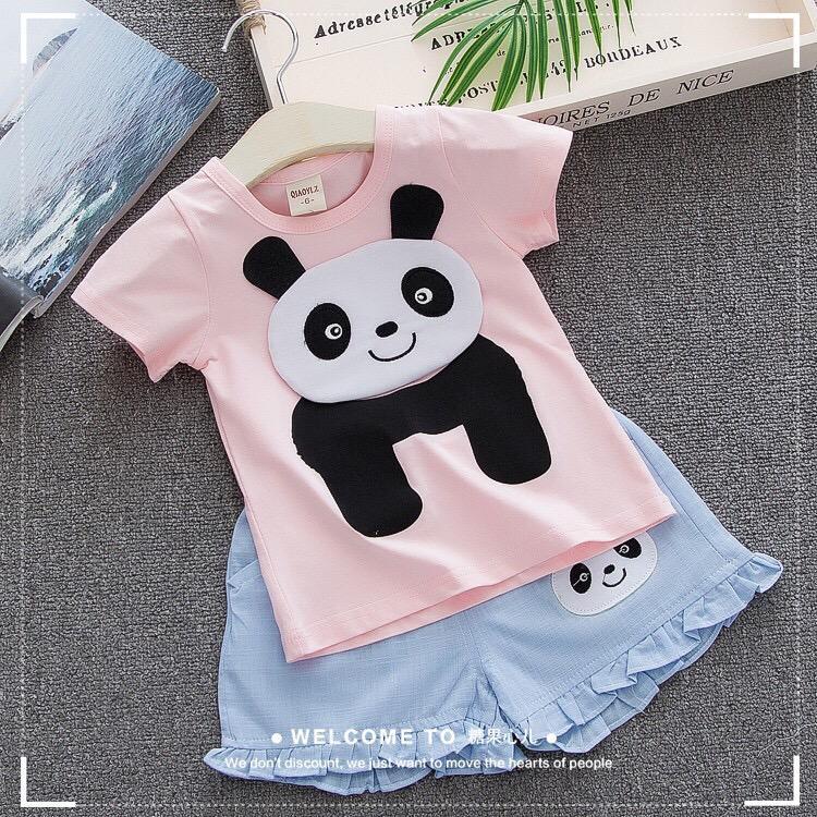 Bộ gấu panda cotton cho bé gái từ 1-5 tuổi