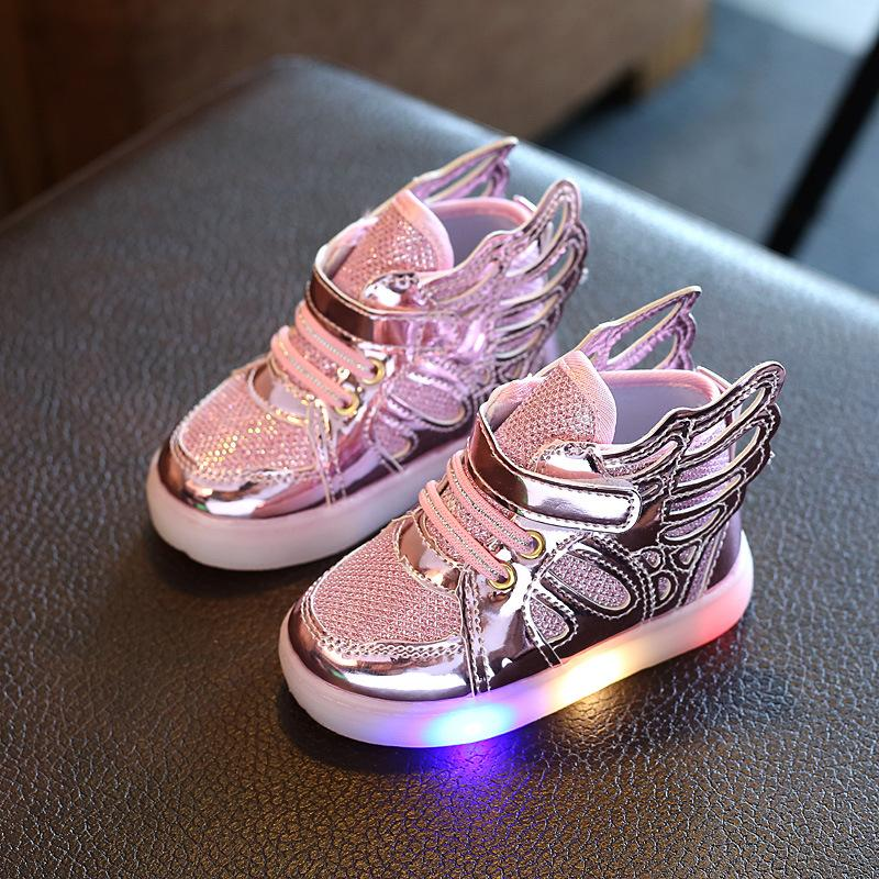 Kids Korean-style Light Up Winged Sneakers Clothing Accessories Girls Shoes Sports