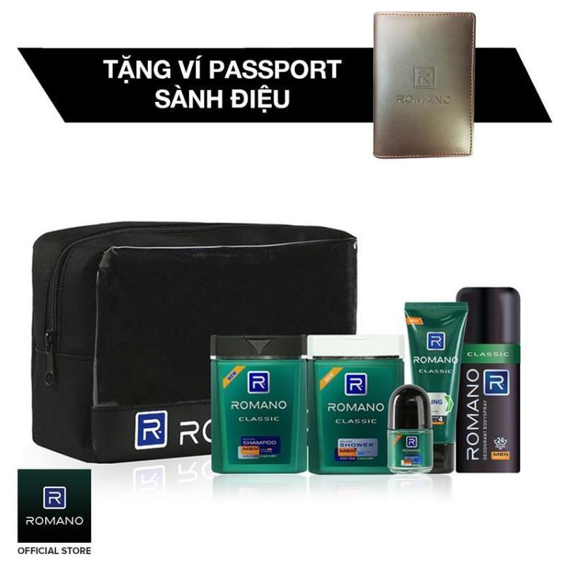 Romano Đẳng Cấp Phái Mạnh, gồm: Combo travel kit + Xịt Ngăn Mùi Classic 150ml + tặng kèm Ví Passport sành điệu tốt nhất