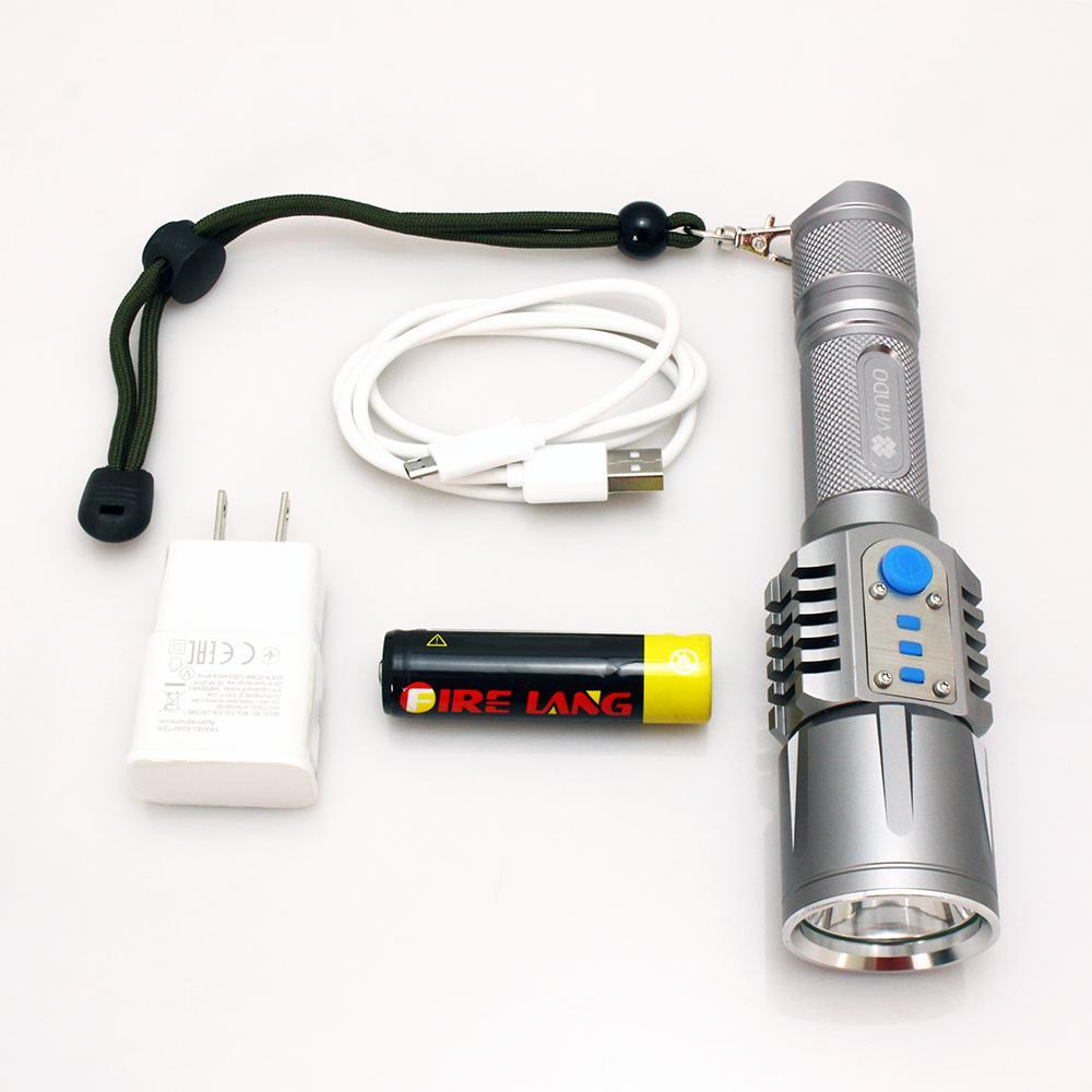 Hình ảnh Đèn pin led siêu sáng VANDO T7P (Chất liệu thép máy bay bạc từ tính)