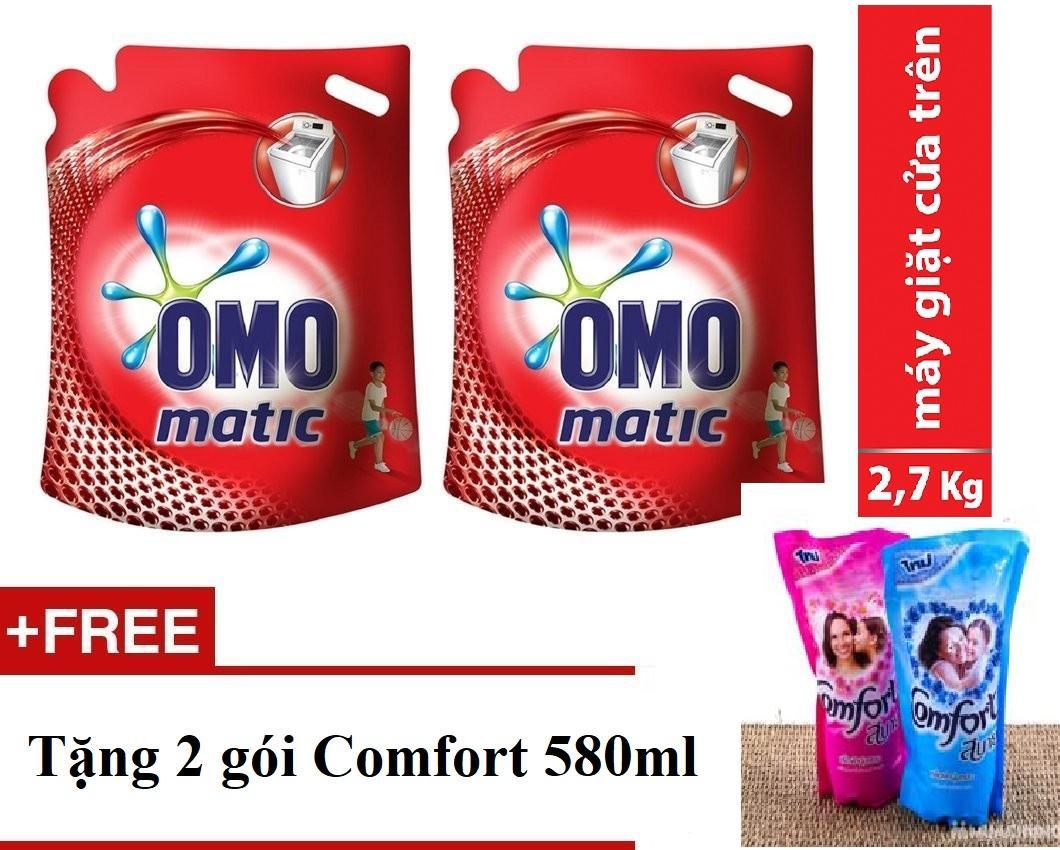 Combo 2 Túi Omo Nước giặt Matic cửa trên 2.7kg + Tặng 02 gói Comfort 580ml/gói