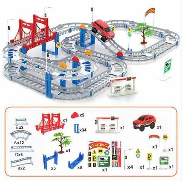 Hình ảnh Bộ đồ chơi đường đua ô tô tàu lượn 88 chi tiết (loại to)