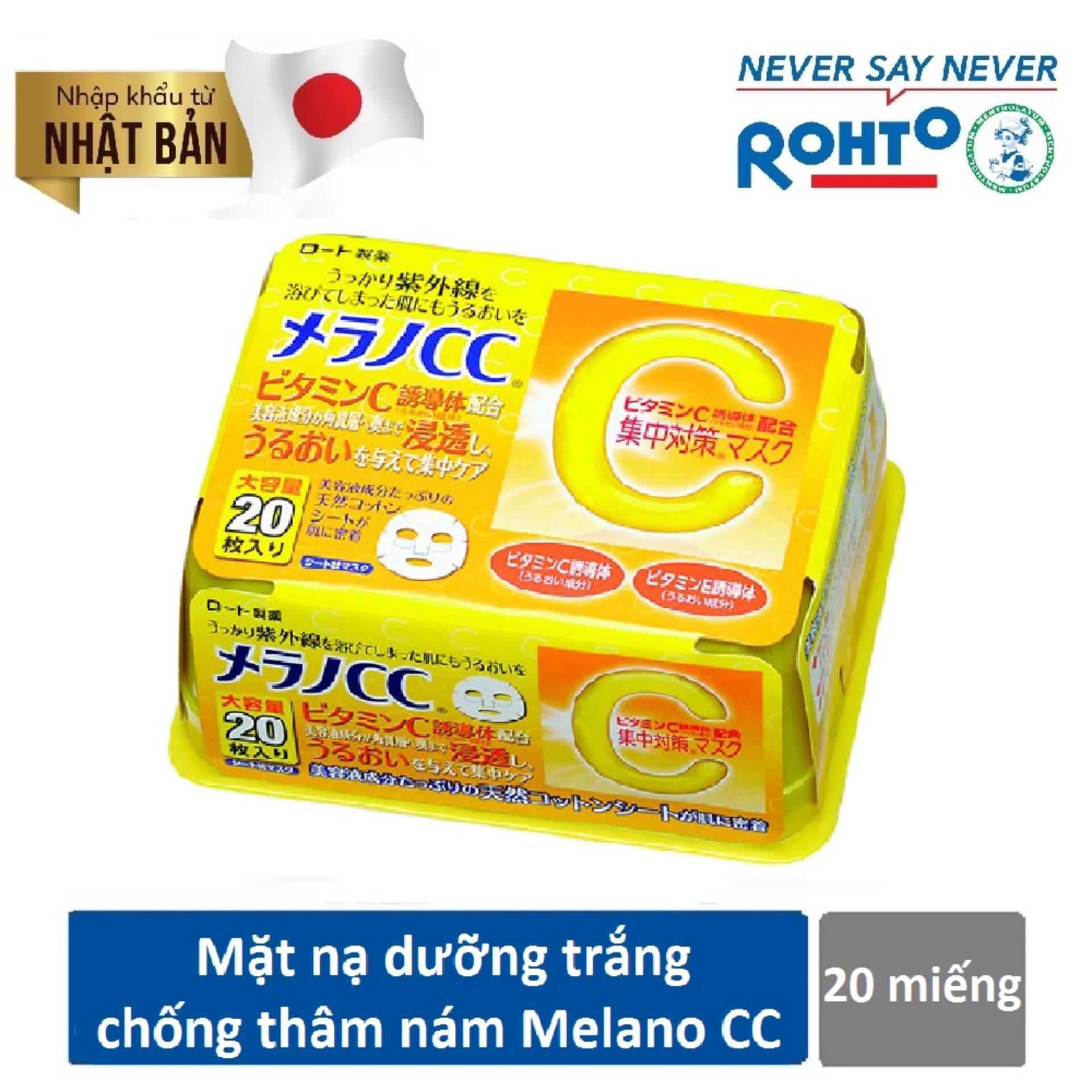 Mặt Nạ Dưỡng Trắng Da Chống Tham Nam Melano Cc Whitening Mask 20Pcs Nhập Khẩu Từ Nhật Bản Hồ Chí Minh Chiết Khấu 50