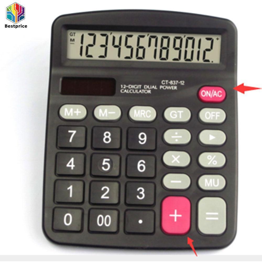 Hình ảnh Handheld Office 12-Digits Desktop Calculator Dual Power Supply Solar & Battery