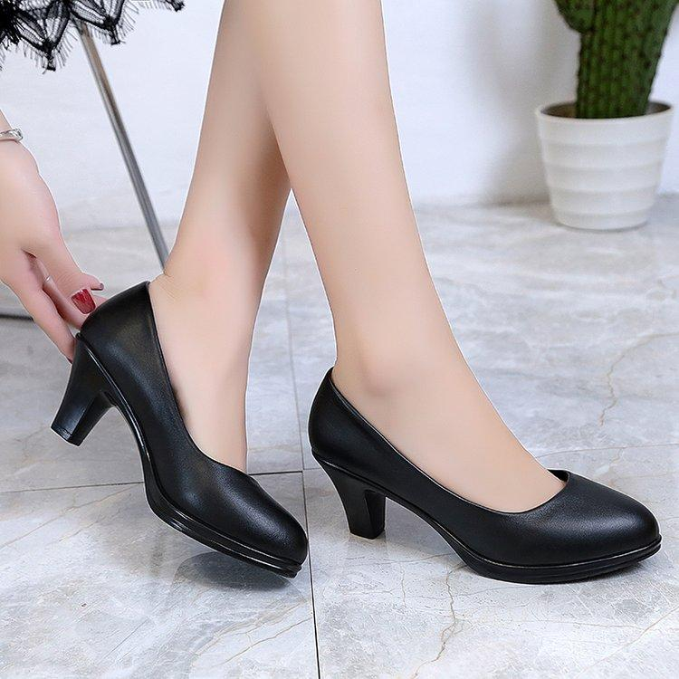 Formal Wear Chunky Heel Work Shoes women Black Semi-high Heeled Shoes  Professional Shoes Leather adcc292d6565