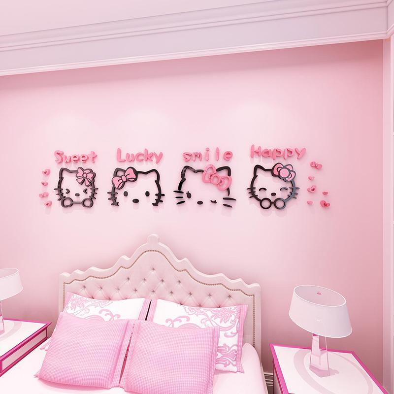 Hello Kitty Cat Cartoon 3D Wall Stickers Childrens Room Decoration Wall Sticker hello kitty Bedroom Bedside Decorative